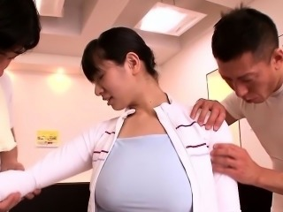 Oily busty japanese babe facialized