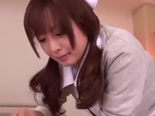 Nice Japanese Nurse Hirono Imai rubbing the pecker inside Point of view hand job