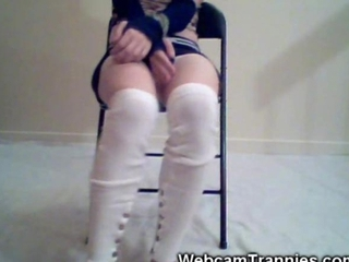 Taped Up Shemale on Cam