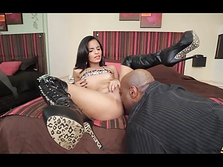 Cute small petite shemale takes big black cock