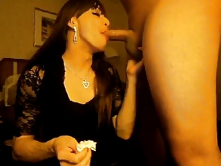 Tranny nice Blowjob and Handjob cum