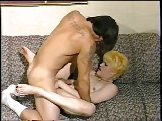 Blonde vintage shemale with gay lover
