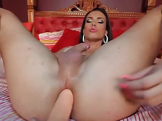 Beautiful Shemale Plays Solo with Big Dildo
