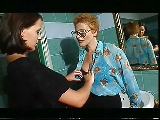 Bathroom European Glasses Italian Lesbian  Pornstar Vintage