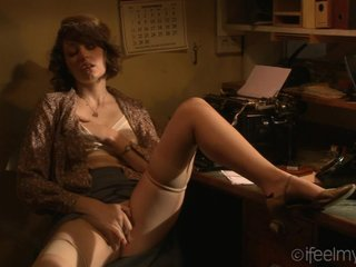 Masturbating Office Secretary Solo Stockings Vintage
