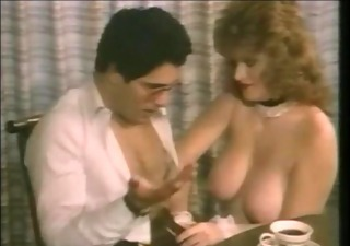 classic large titted red head porn star lisa deleeuw as maid gets done on a table