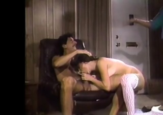 lascivious lengthy legged brunette sucking two large jocks