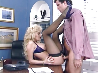 Amazing Cute  Office Pornstar Secretary Stockings Vintage