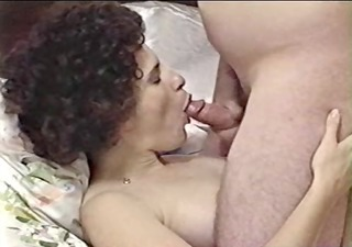 unshaved older takes cum on her face - homemade