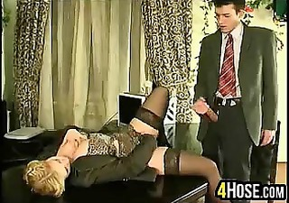Blonde Clothed  Office Secretary Stockings Vintage