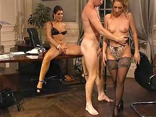 Amazing European French Lingerie  Office Pornstar Secretary Stockings Threesome Vintage