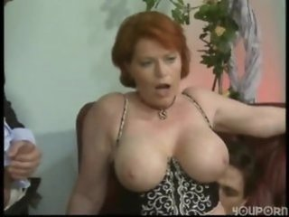 Big Tits European German Mature Natural Pornstar Redhead Riding  Threesome