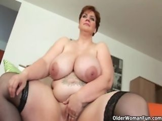Big Tits Masturbating Mature Mom Natural Redhead Stockings