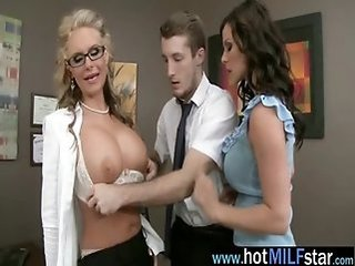 Amazing Big Tits Glasses  Office Old and Young Pornstar Secretary Threesome