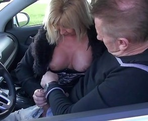Car Clothed European French Handjob Mature Older Wife