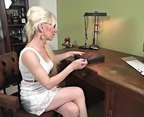 Glasses Masturbating Mature Office Secretary Solo
