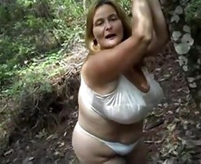 Amateur BBW Big Tits Lingerie Mature Mom Outdoor