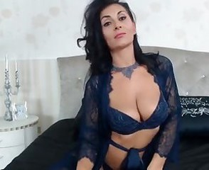 Raven Haired Milf Joking In Sexy Lingerie