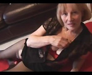 Busty blonde granny rips pantyhose to show off hairy pussy