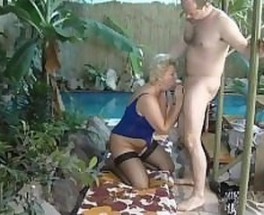 Blowjob Mature Older Outdoor Pool Stockings