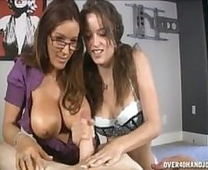 Big Tits Daughter Family Glasses Handjob  Mom Natural Old and Young Teen Threesome
