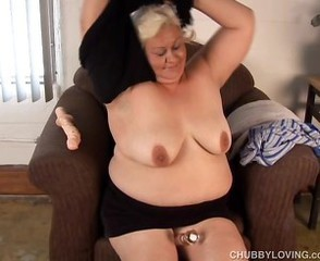Cute chubby blonde MILF has a soaking muddied pussy