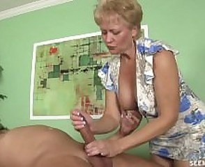 Granny Tracy cocksucking and handjob