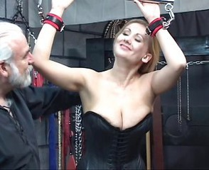 Sexy blonde with a great body has some kinky fun in the donjon