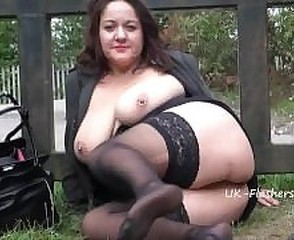 Amateur Big Tits Chubby Mature Mom Natural Nipples Outdoor Piercing Public  Stockings