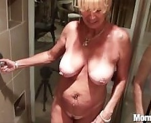 Busty cougar gets fucked yon the shower