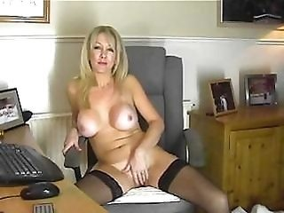 Big Tits Masturbating  Mom Silicone Tits Solo Stockings Webcam