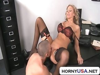 Amazing Big Tits Lingerie Licking  Office Pornstar Secretary Stockings