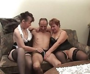 Mature Older Stockings Threesome