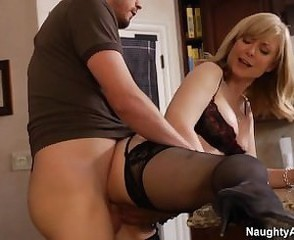 Doggystyle Mature Mom Old and Young Pornstar Stockings