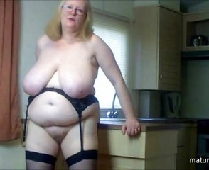 Amateur  Big Tits British European Glasses Homemade Kitchen Mature Natural  Wife