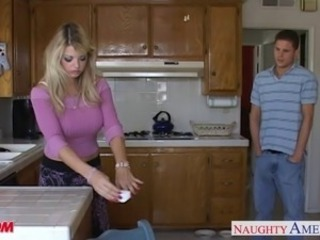 Busty mom Vicky Vette almost cock in POV style