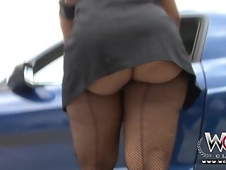 Ass Car Outdoor Pantyhose Upskirt