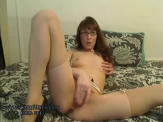 Amazing Cute Glasses Masturbating  Skinny Small Tits Solo Stockings Webcam