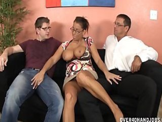 Big Tits Ebony Glasses Interracial  Threesome