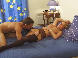 Lingerie Licking Mature Mom Old and Young Stockings