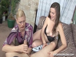 Handjob  Old and Young Teen Threesome