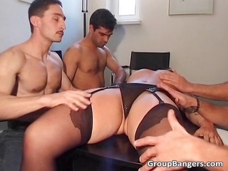 inexperienced gang bang line with some grownup