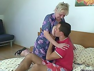 naughty elderly takes inexperienced cock