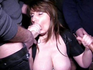 busty brunette milf acquires in a bukkake session into bunch sex