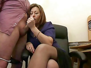 Amazing Handjob  Office Secretary Stockings Wife
