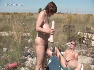 Amateur Dildo Mature Mom Old and Young Outdoor Toy
