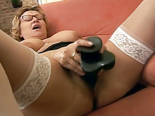 Dildo Glasses Masturbating Mature Solo Stockings Toy Wife