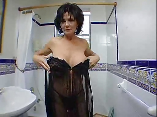 Bathroom Big Tits Brunette Lingerie Mature Mom Silicone Tits Stripper