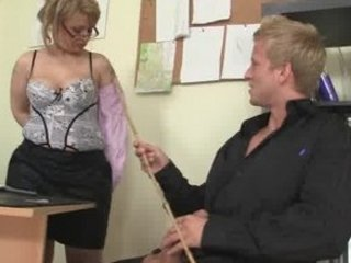 cougar workplace boss operate against him fuck her hard