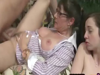 Daughter Family Glasses Mature Mom Old and Young Teen Threesome